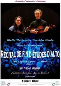 Récital de fin d'études : Violon Alto (Giulia et Joachim)